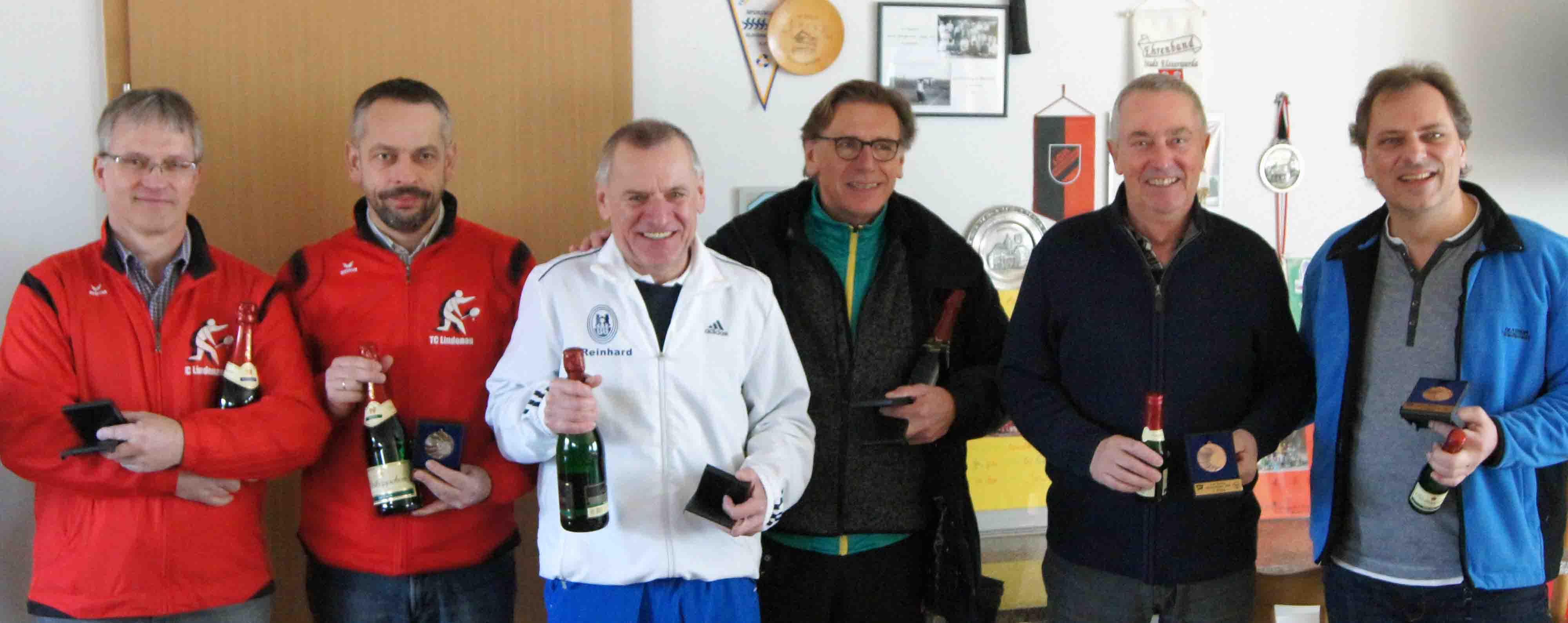 v.l.n.r.: Jens Fischer und Hardy Borkert (Lindenau), Reinhard Lehmann und Udo Walczak (Berlin) sowie Manfred Huhle und Holm Griger (Dresden)